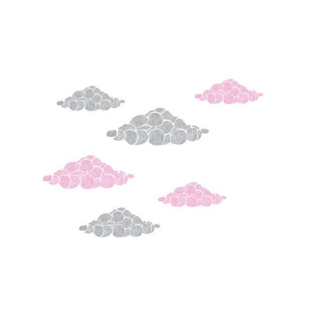 Wolken Wandtattoo grau/rosa