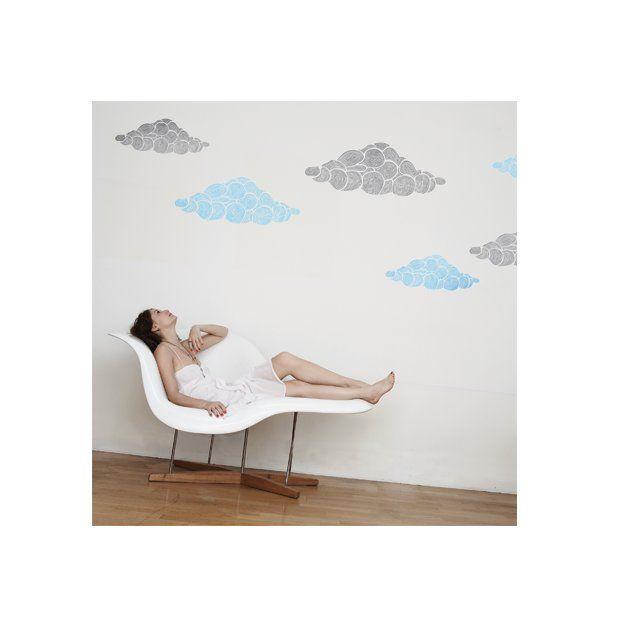 Wolken Wandtattoo grau/himmelblau