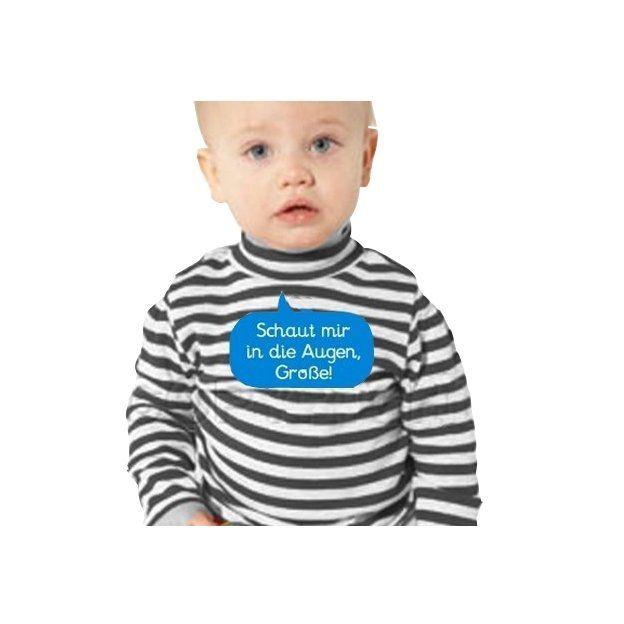 Baby Shirt Schaut mir in die Augen Langärmlig blau 6-12 Monate