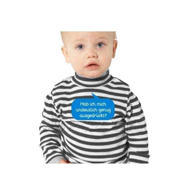 Baby Shirt Habe ich mich undeutlich genug…  Langärmlig blau 6-12 Monate