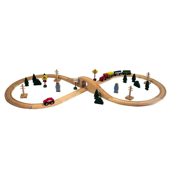 Holzspielzeug Eisenbahn mit Schiene