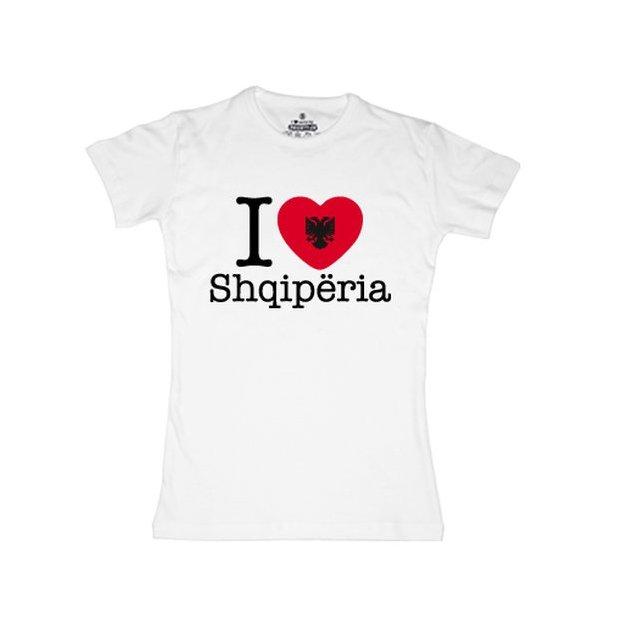 Shirt Nation Albanie, Blanc, L, Femme