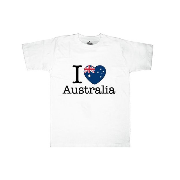 Shirt Nation Australie, Blanc, XL, Homme