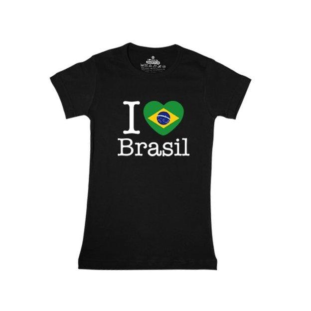 Shirt Nation Brésil, Noir, M, Femme