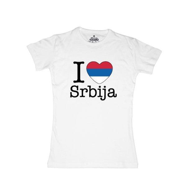 Ländershirt Serbien, Weiss, L, Frau