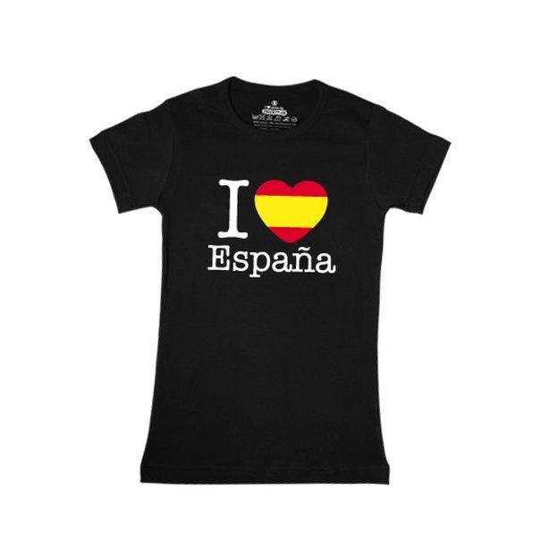 Shirt Nation Espagne, Noir, S, Femme