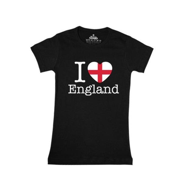 Shirt Nation Angleterre, Noir, M, Femme
