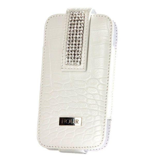 Etui iphone cuir cristaux Swarovski blanc