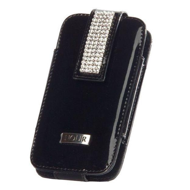 Etui iphone cuir cristaux Swarovski noir lisse