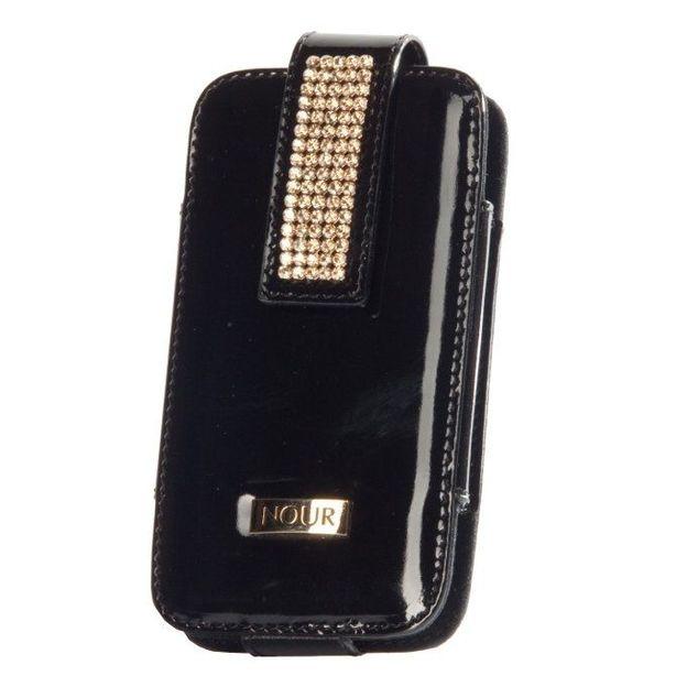 Etui iphone cuir cristaux Swarovski noir grenu