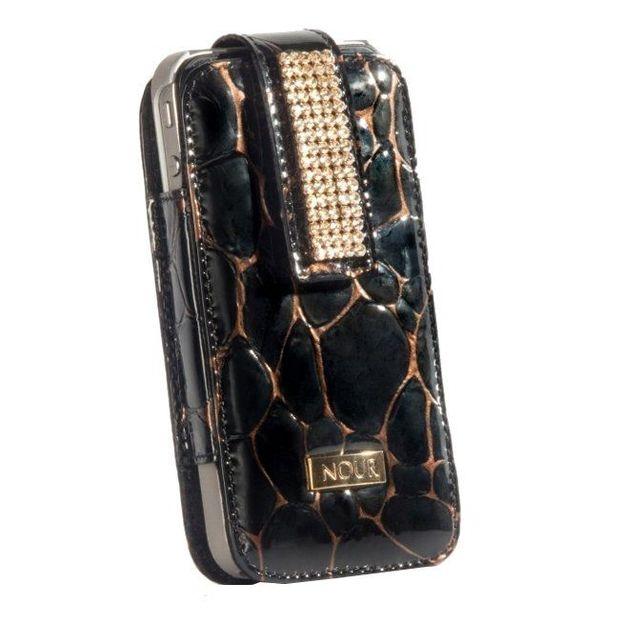 Iphone Etui mit Swarovskikristallen schwarz gefleckt