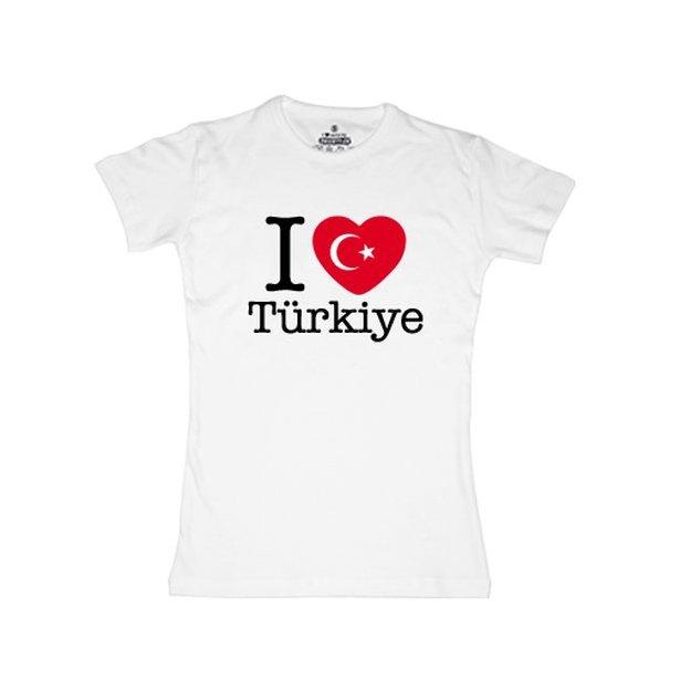 Shirt Nation Turquie, Blanc, L, Femme