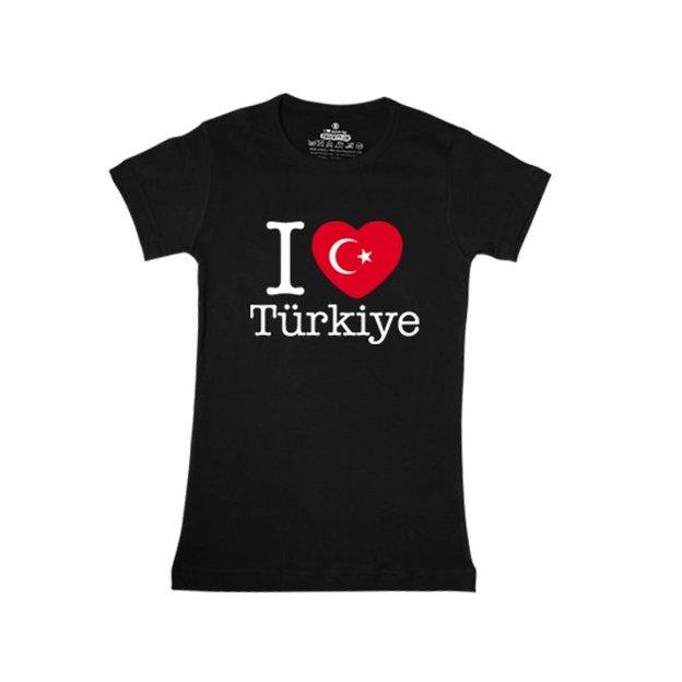 Shirt Nation Turquie, Noir, M, Femme