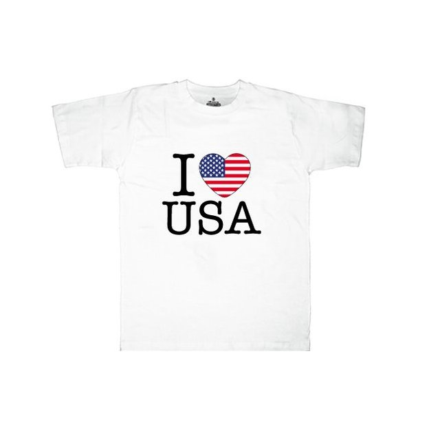 Shirt Nation USA, Blanc, XL, Homme