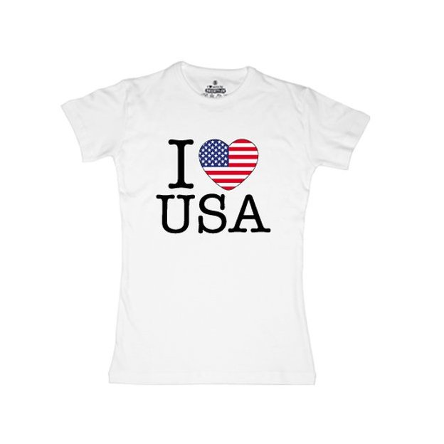 Shirt Nation USA, Blanc, L, Femme