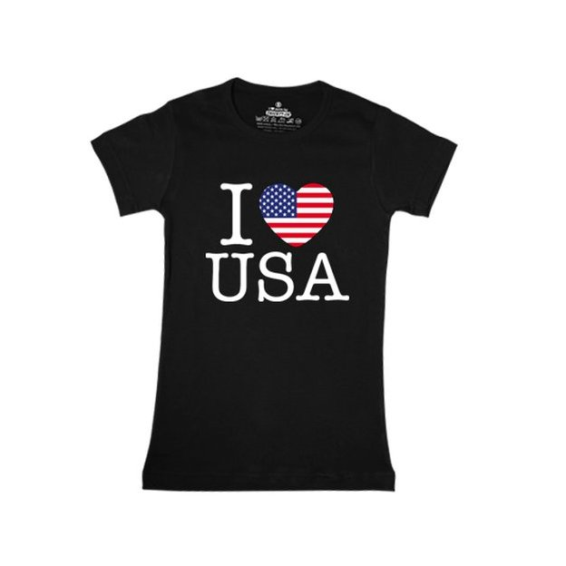 Shirt Nation USA, Noir, S, Femme