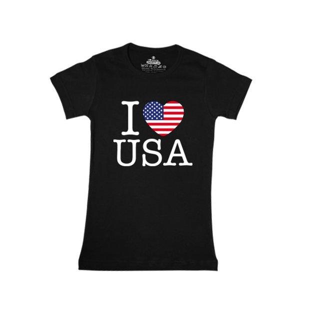 Shirt Nation USA, Noir, L, Femme