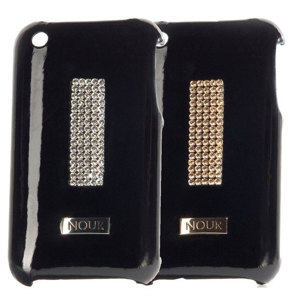 Coque iphone cuir cristaux Swarovski argentés