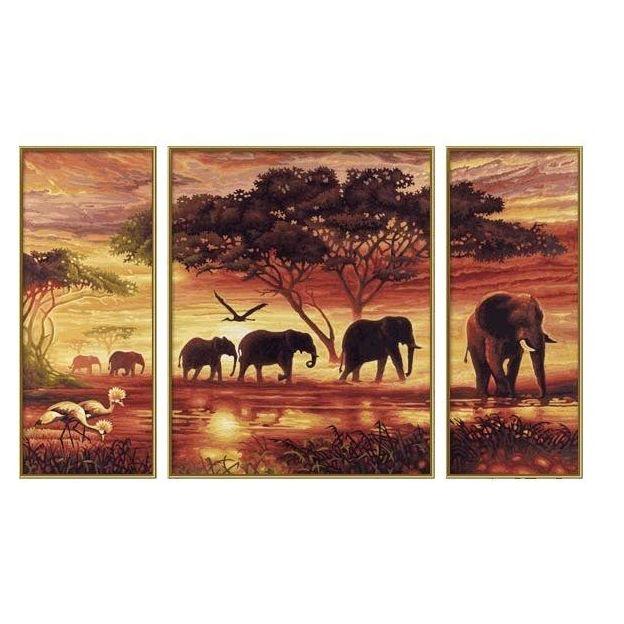 Elephants dans la Savanne peinture