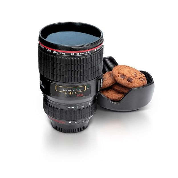 Gobelet objectif de caméra noir