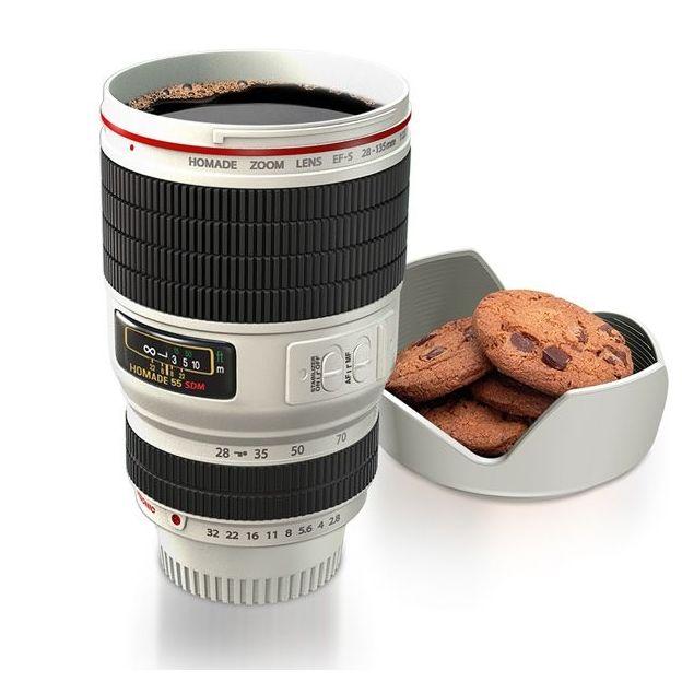 Trinkbecher Kameraobjektiv weiss