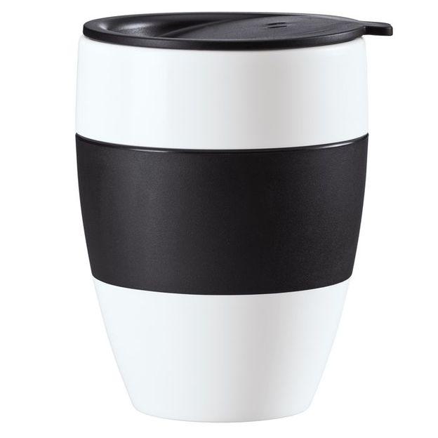 Gobelet isotherme avec couvercle AROMA TO GO noir opaque de Koziol