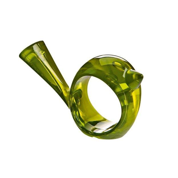 Rond de serviette pi:p vert olive transp. de Koziol