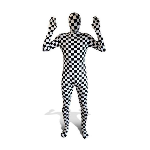 Morphsuit Kostüm kariert, Grösse XL
