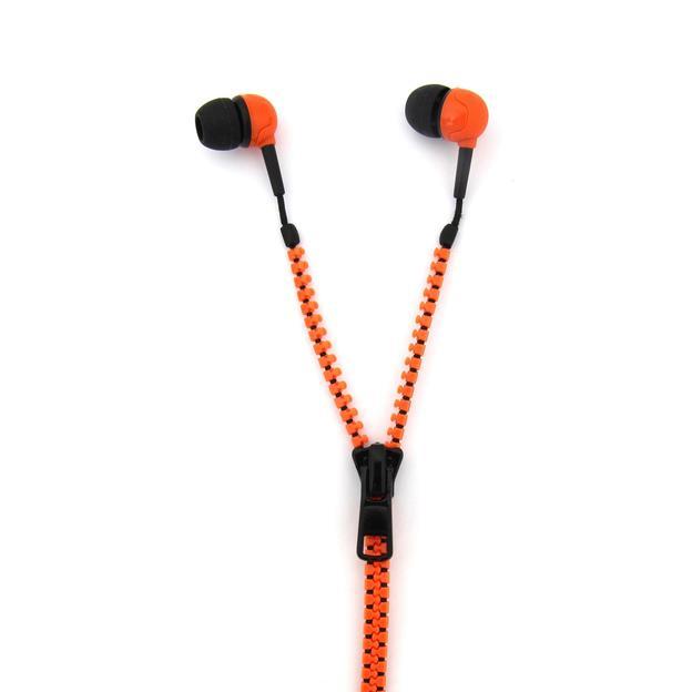 Oreillettes à zipper orange / noir