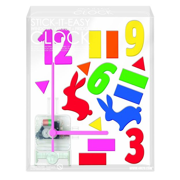Horloge stickers multicolores lapins
