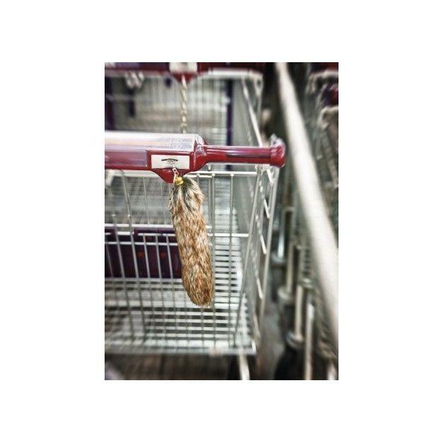 Fuchsschwanzanhänger mit Einkaufswagen-Chip