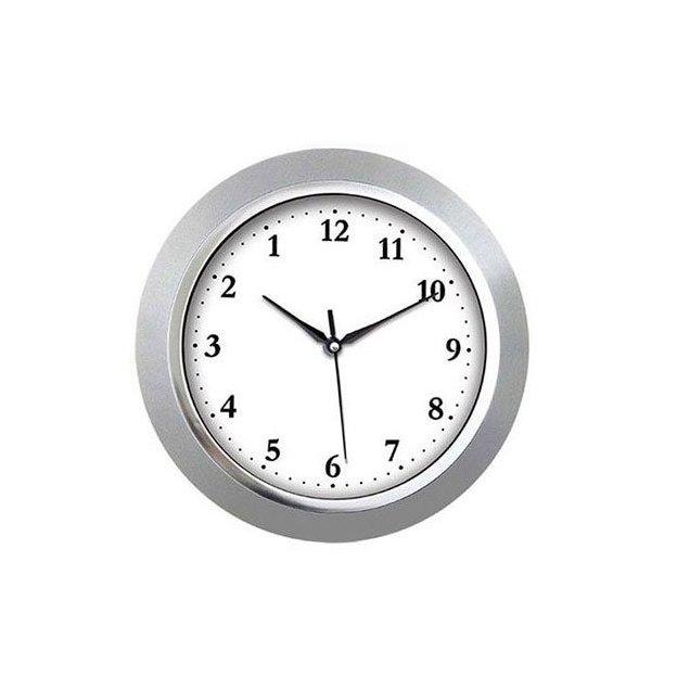 Rückwärtslaufende Uhr silber