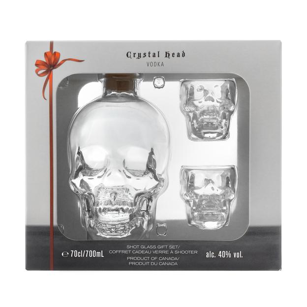 Crystal Head Vodka avec 2 verres à shot