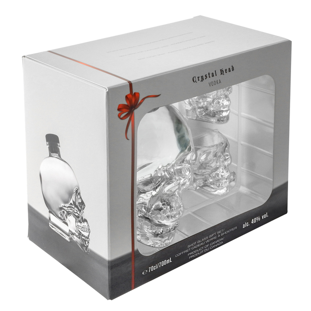 Crystal Head, Vodka, 700ml, Set inklusive Shotgläser