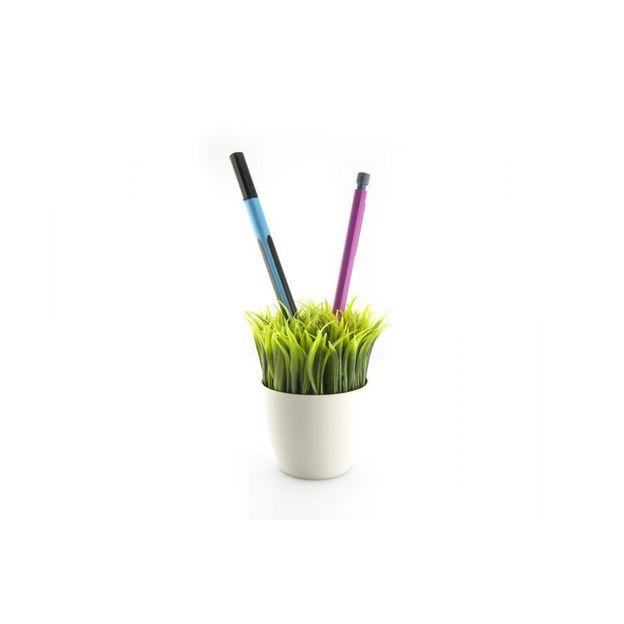 Pot blanc à crayon Herbe