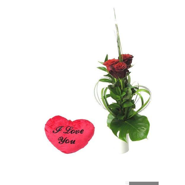 Trois roses et Coeur de velours