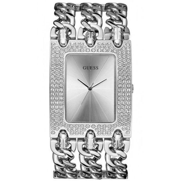 Guess Damenuhr Heavy Metal Trend Swarovski Silber