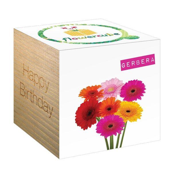 Boîte à fleurs FlowerCube Happy Birthday Gerbera