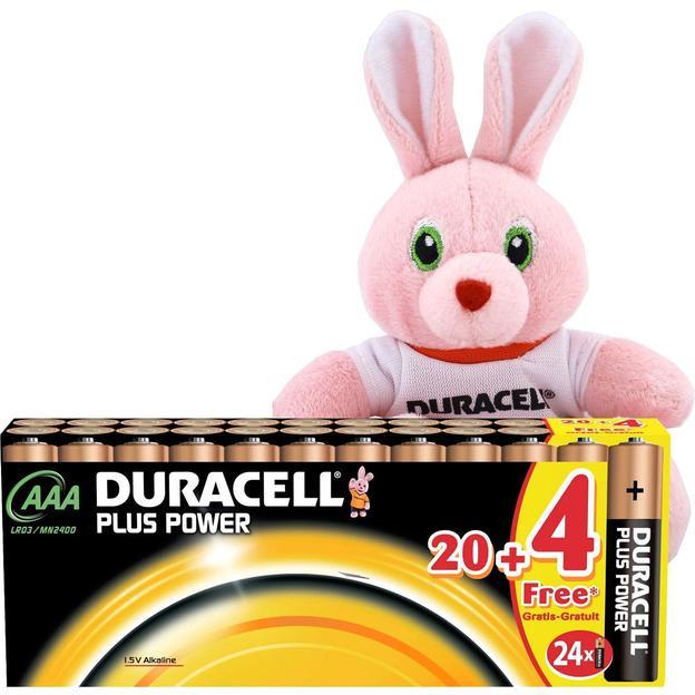 Duracell Plus Power AAA Batterien 20+4 mit Duracell Fussball Stoffhäschen
