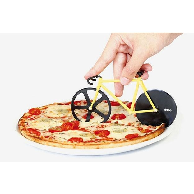 Coupe pizza Vélo fixie jaune