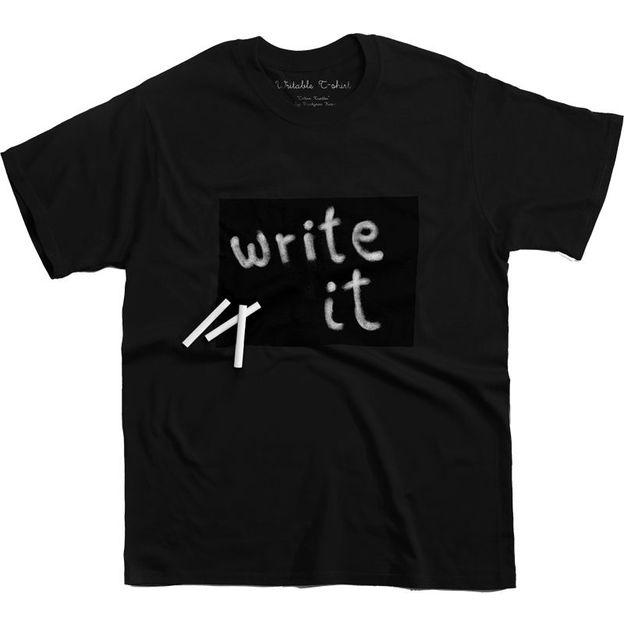Beschreibbares T-Shirt Cotton Twitter Schwarz Frau, Grösse M