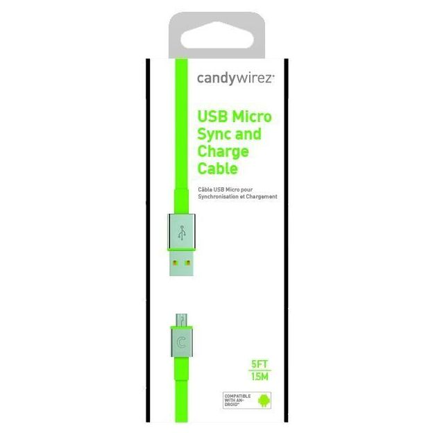 Candy Wirez Micro-USB Ladekabel grün extra lang