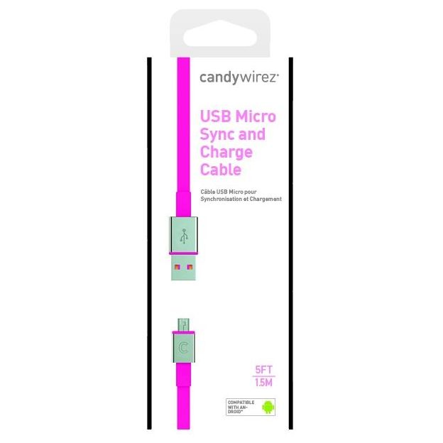 Candy Wirez Micro-USB Ladekabel pink extra lang
