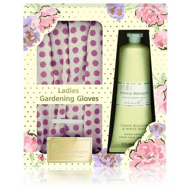 Soins des mains Royale Bouquet et gants de jardinage Citron & Rose blanche
