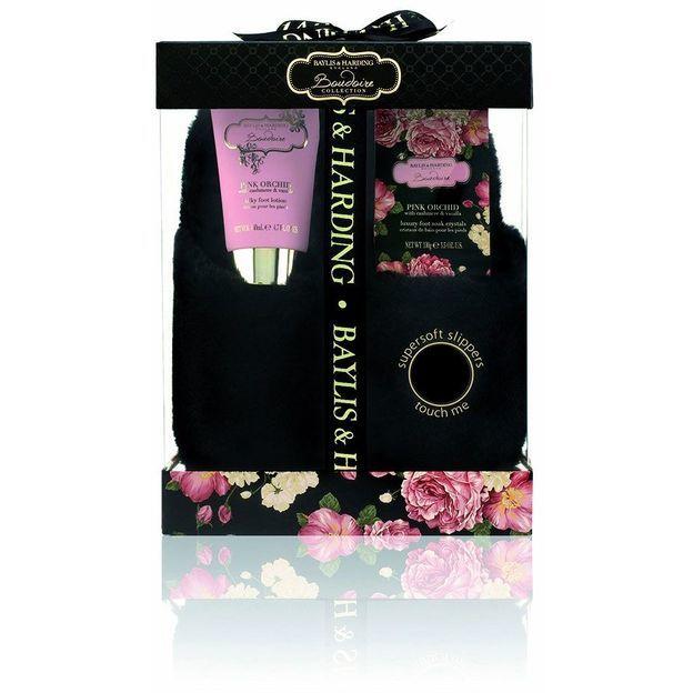 Geschenkset Hausschuhe, Pink Orchid & Cashmere