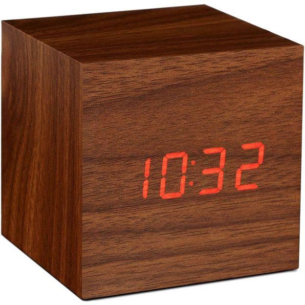 LED Würfel Wecker Holz rot