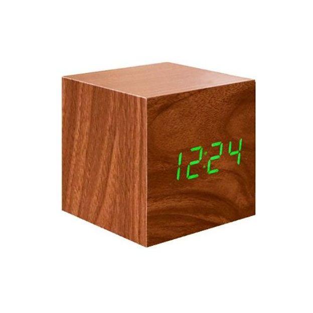 LED Würfel Wecker Holz grün