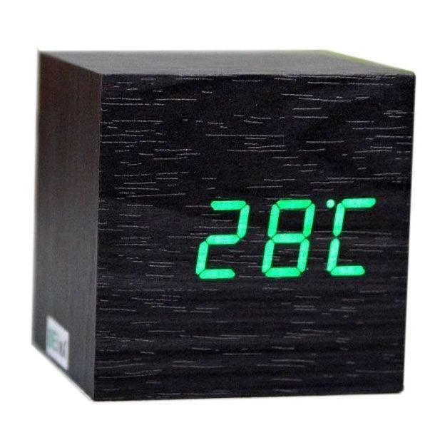 Réveil Cube noir LED vert