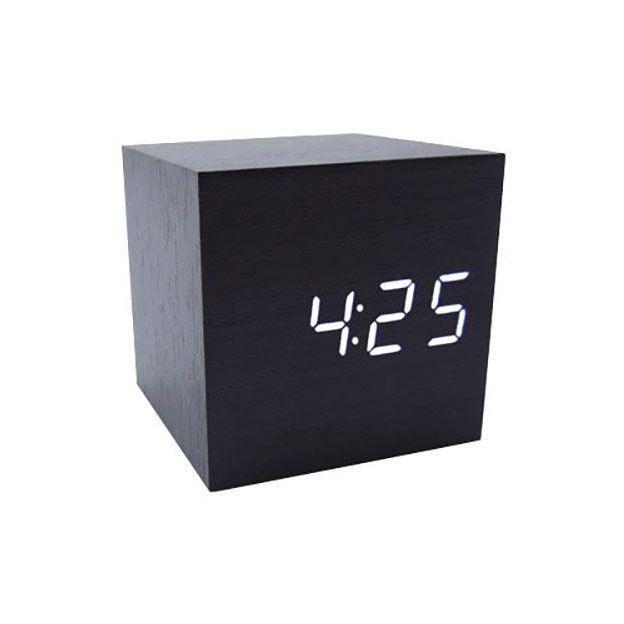 Réveil Cube noir LED blanc