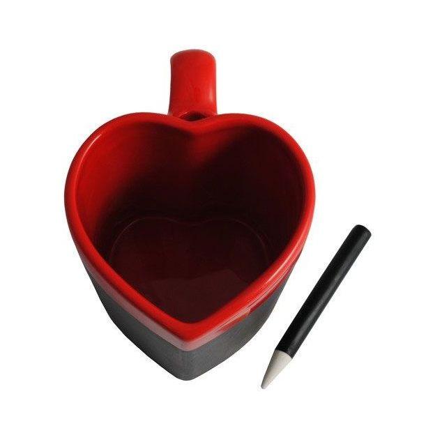 Tasse Herzform mit Schiefertafel zum beschriften